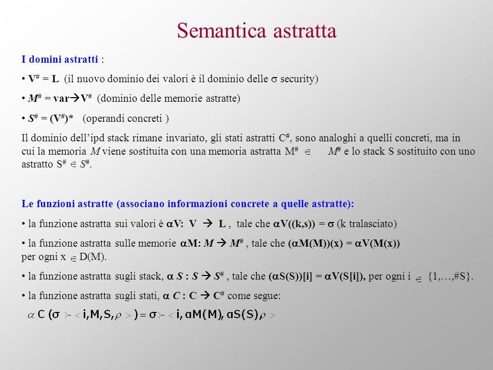 Semantica astratta I domini astratti : V # = L (il nuovo dominio dei valori è il dominio delle security) M # = var V # (dominio delle memorie astratte) S # = (V # )* (operandi concreti ) Il dominio dellipd stack rimane invariato, gli stati astratti C #, sono analoghi a quelli concreti, ma in cui la memoria M viene sostituita con una memoria astratta M # M # e lo stack S sostituito con uno astratto S # S #.