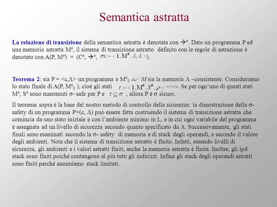 Semantica astratta La relazione di transizione della semantica astratta è denotata con #. Dato un programma P ed una memoria astratta M #, il sistema