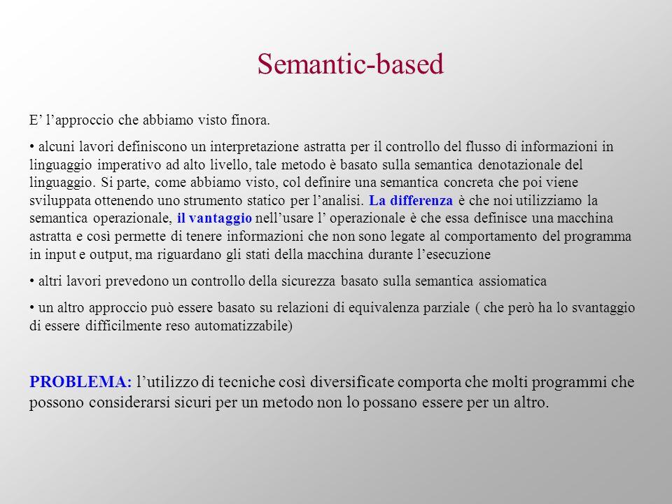 Semantic-based E lapproccio che abbiamo visto finora.