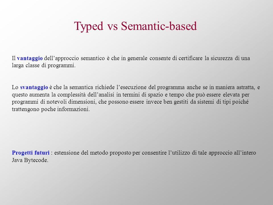 Typed vs Semantic-based Il vantaggio dellapproccio semantico è che in generale consente di certificare la sicurezza di una larga classe di programmi.