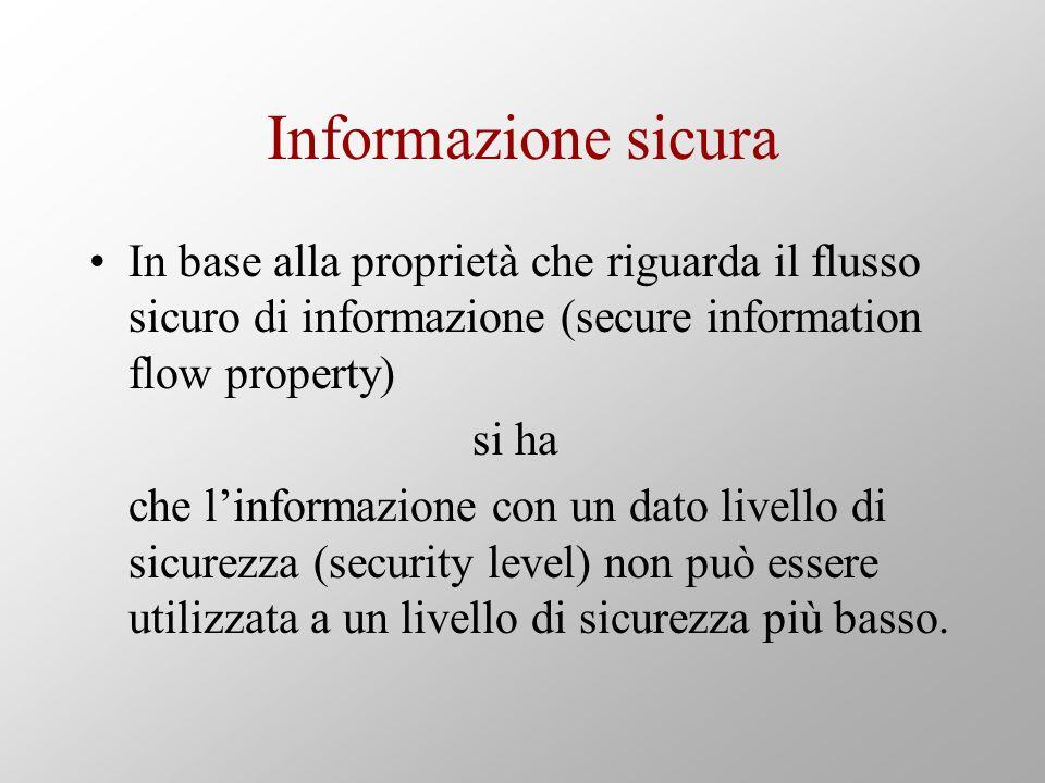Informazione sicura In base alla proprietà che riguarda il flusso sicuro di informazione (secure information flow property) si ha che linformazione con un dato livello di sicurezza (security level) non può essere utilizzata a un livello di sicurezza più basso.