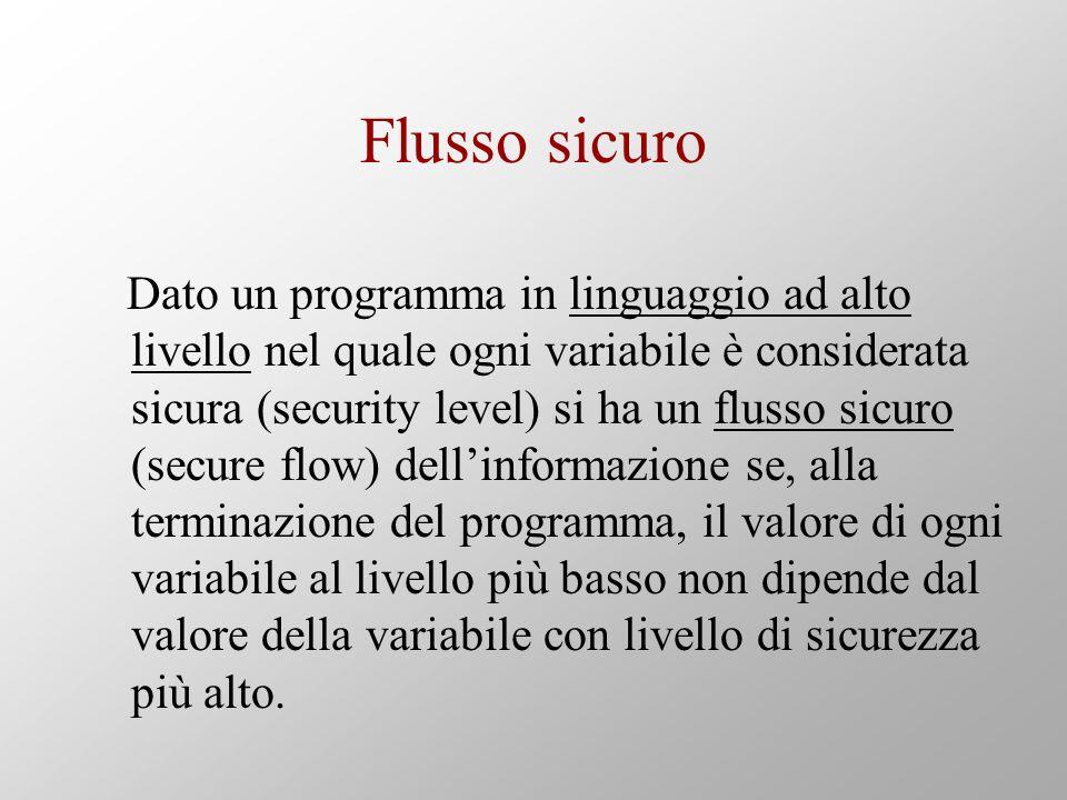 Flusso sicuro Dato un programma in linguaggio ad alto livello nel quale ogni variabile è considerata sicura (security level) si ha un flusso sicuro (s