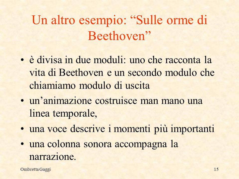 Ombretta Gaggi15 Un altro esempio: Sulle orme di Beethoven è divisa in due moduli: uno che racconta la vita di Beethoven e un secondo modulo che chiam