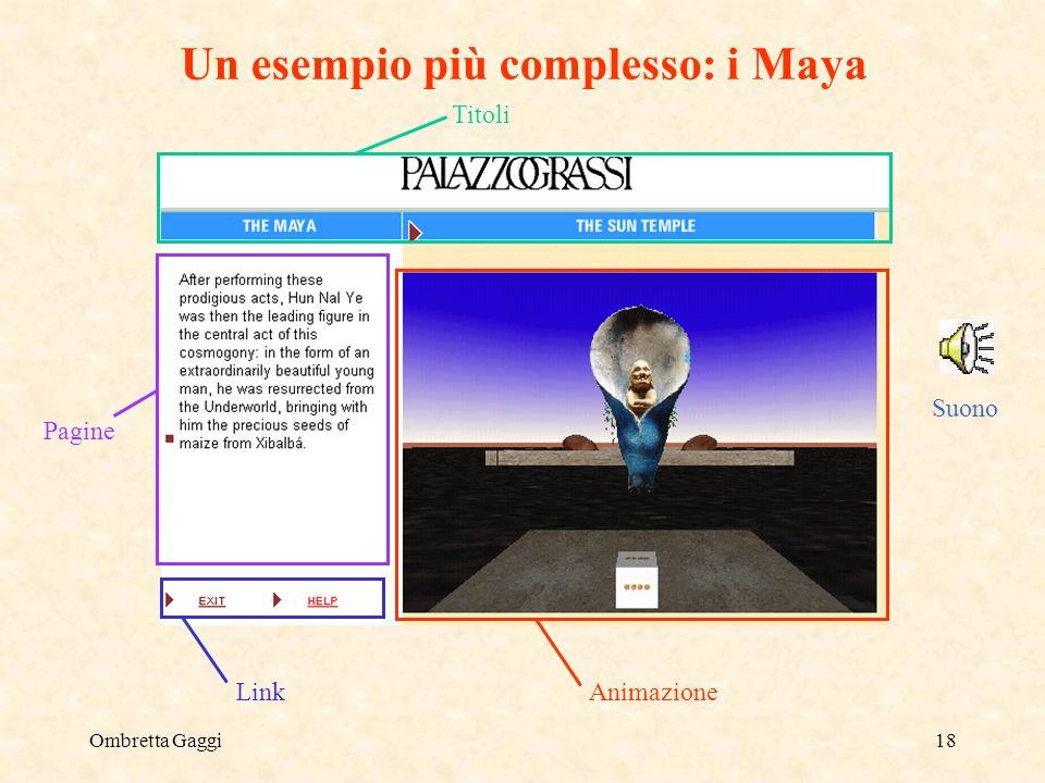 Ombretta Gaggi18 Un esempio più complesso: i Maya Animazione Link Titoli Pagine Suono