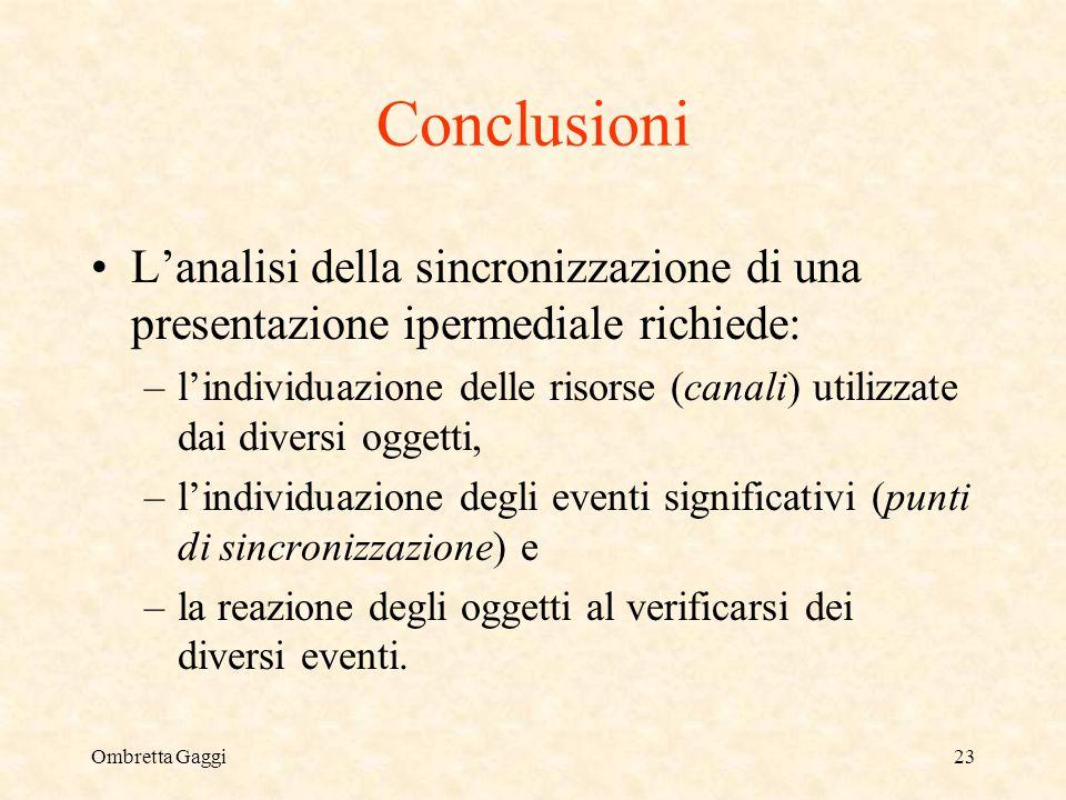 Ombretta Gaggi23 Conclusioni Lanalisi della sincronizzazione di una presentazione ipermediale richiede: –lindividuazione delle risorse (canali) utiliz