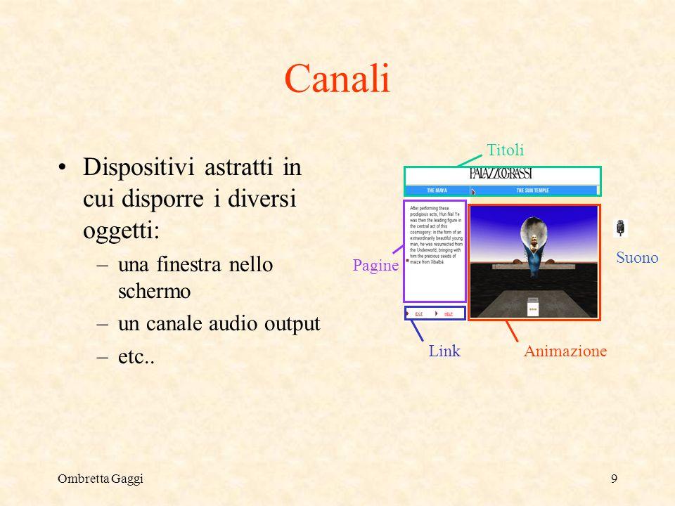 Ombretta Gaggi9 Canali Dispositivi astratti in cui disporre i diversi oggetti: –una finestra nello schermo –un canale audio output –etc.. Animazione L