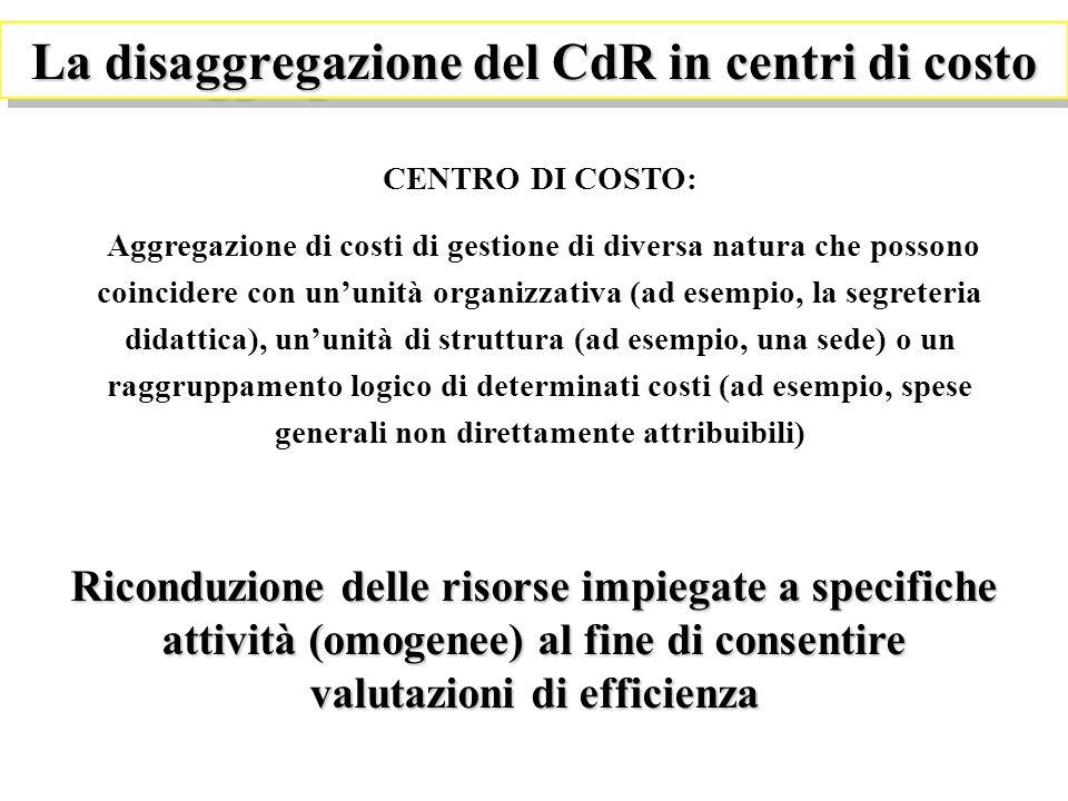 La disaggregazione del CdR in centri di costo CENTRO DI COSTO: Aggregazione di costi di gestione di diversa natura che possono coincidere con ununità organizzativa (ad esempio, la segreteria didattica), ununità di struttura (ad esempio, una sede) o un raggruppamento logico di determinati costi (ad esempio, spese generali non direttamente attribuibili) Riconduzione delle risorse impiegate a specifiche attività (omogenee) al fine di consentire valutazioni di efficienza