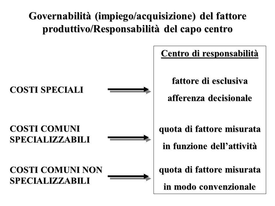Governabilità (impiego/acquisizione) del fattore produttivo/Responsabilità del capo centro COSTI SPECIALI COSTI COMUNI SPECIALIZZABILI COSTI COMUNI NON SPECIALIZZABILI Centro di responsabilità fattore di esclusiva afferenza decisionale quota di fattore misurata in funzione dellattività quota di fattore misurata in modo convenzionale