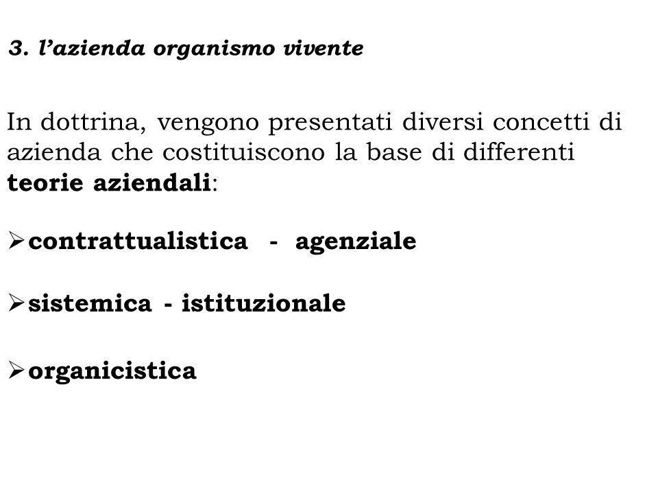 In dottrina, vengono presentati diversi concetti di azienda che costituiscono la base di differenti teorie aziendali : contrattualistica - agenziale s