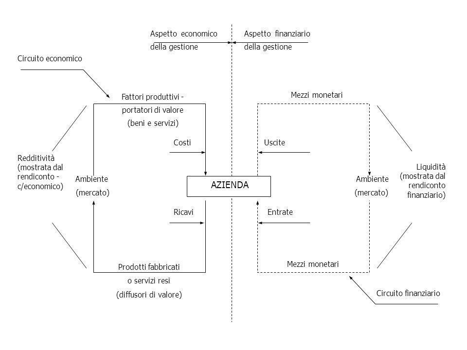 AZIENDA Ambiente (mercato) Fattori produttivi - portatori di valore (beni e servizi) Prodotti fabbricati o servizi resi (diffusori di valore) Costi Ri