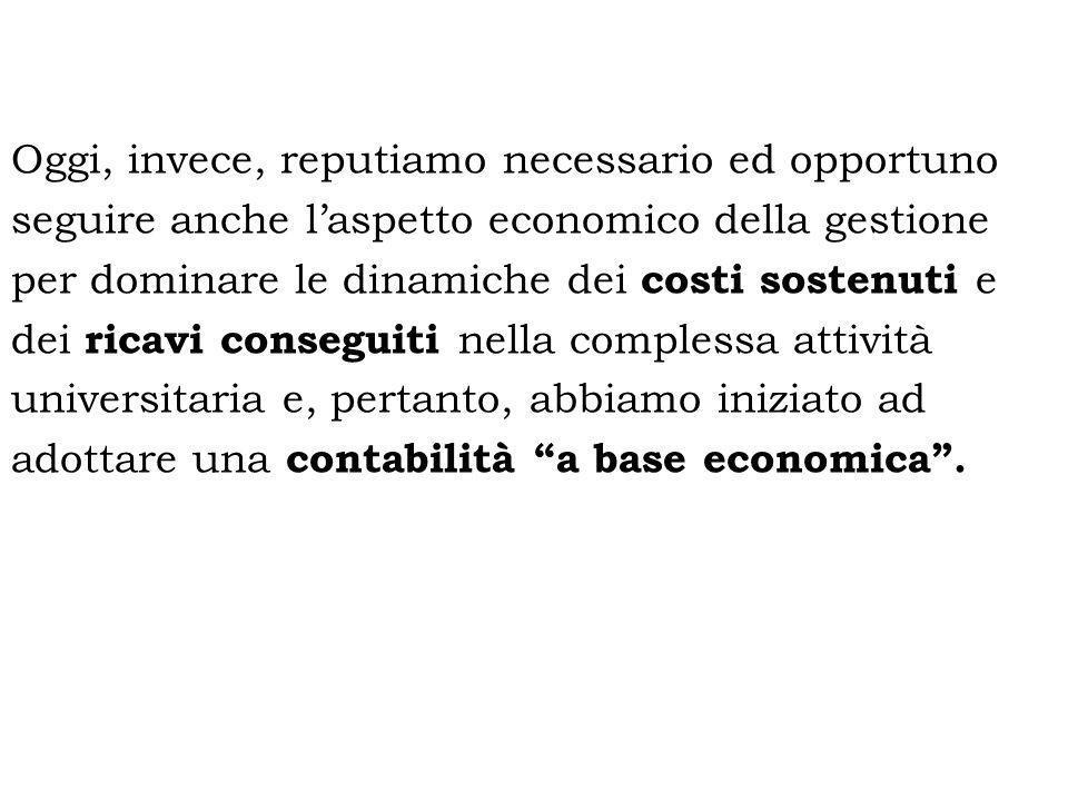 Oggi, invece, reputiamo necessario ed opportuno seguire anche laspetto economico della gestione per dominare le dinamiche dei costi sostenuti e dei ri