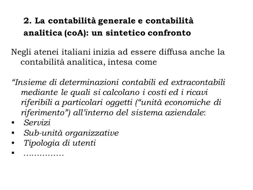 Negli atenei italiani inizia ad essere diffusa anche la contabilità analitica, intesa come Insieme di determinazioni contabili ed extracontabili media