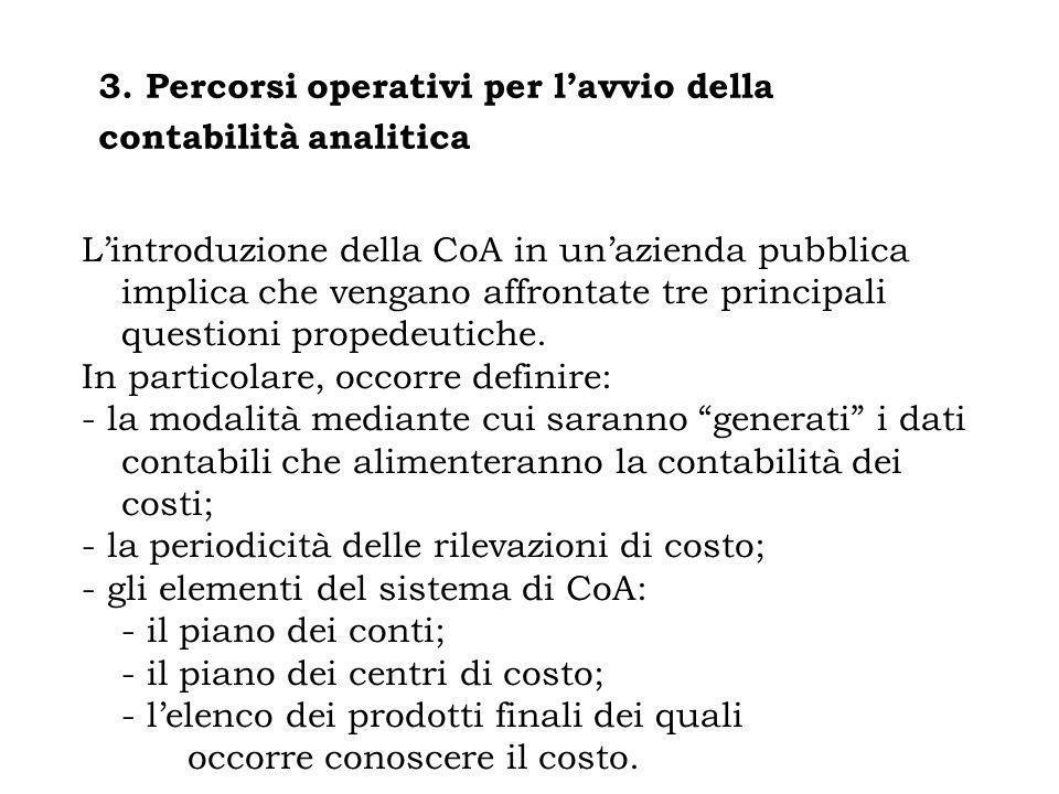 3. Percorsi operativi per lavvio della contabilità analitica Lintroduzione della CoA in unazienda pubblica implica che vengano affrontate tre principa