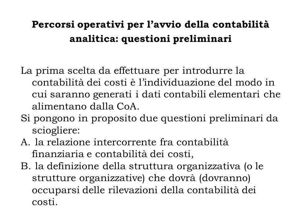 Percorsi operativi per lavvio della contabilità analitica: questioni preliminari La prima scelta da effettuare per introdurre la contabilità dei costi