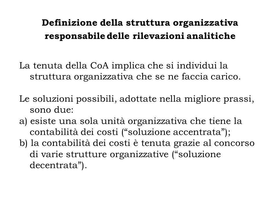 Definizione della struttura organizzativa responsabile delle rilevazioni analitiche La tenuta della CoA implica che si individui la struttura organizz