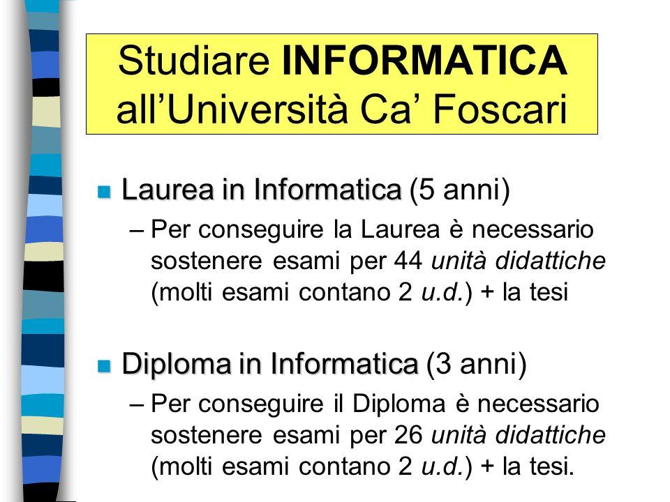 Studiare INFORMATICA allUniversità Ca Foscari n Laurea in Informatica n Laurea in Informatica (5 anni) –Per conseguire la Laurea è necessario sostener