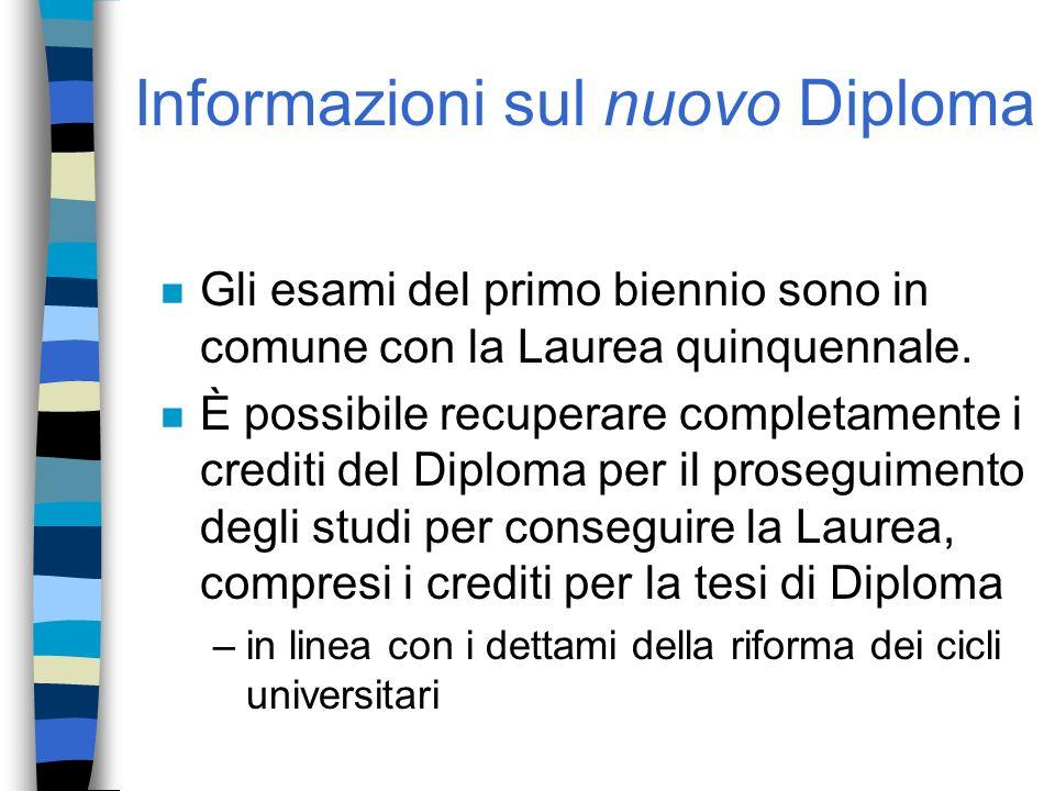 Informazioni sul nuovo Diploma n Gli esami del primo biennio sono in comune con la Laurea quinquennale. n È possibile recuperare completamente i credi
