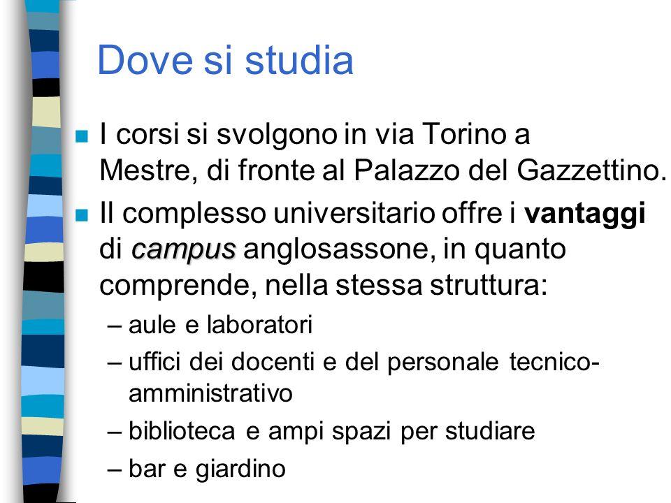 Dove si studia n I corsi si svolgono in via Torino a Mestre, di fronte al Palazzo del Gazzettino. campus n Il complesso universitario offre i vantaggi