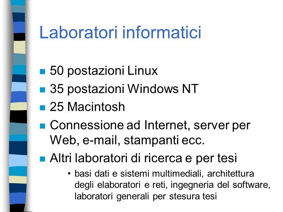 Laboratori informatici n 50 postazioni Linux n 35 postazioni Windows NT n 25 Macintosh n Connessione ad Internet, server per Web, e-mail, stampanti ec