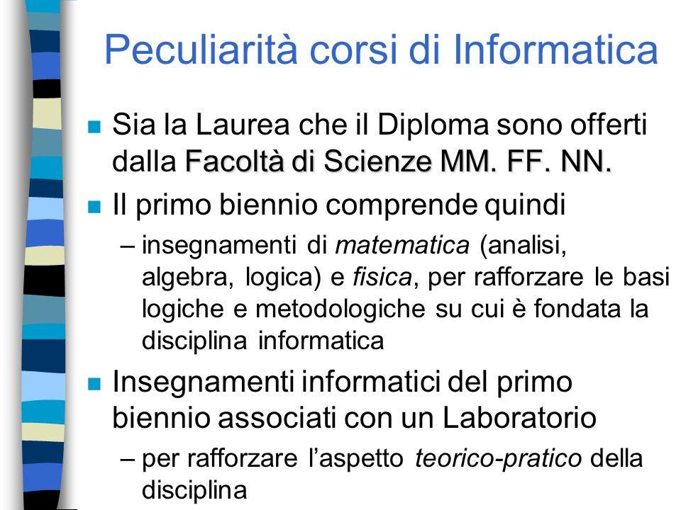 Peculiarità corsi di Informatica Facoltà di Scienze MM. FF. NN. n Sia la Laurea che il Diploma sono offerti dalla Facoltà di Scienze MM. FF. NN. n Il