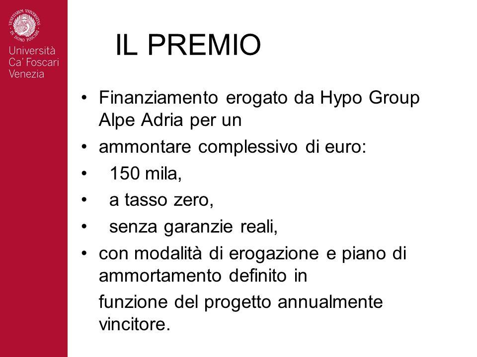 IL PREMIO Finanziamento erogato da Hypo Group Alpe Adria per un ammontare complessivo di euro: 150 mila, a tasso zero, senza garanzie reali, con modal