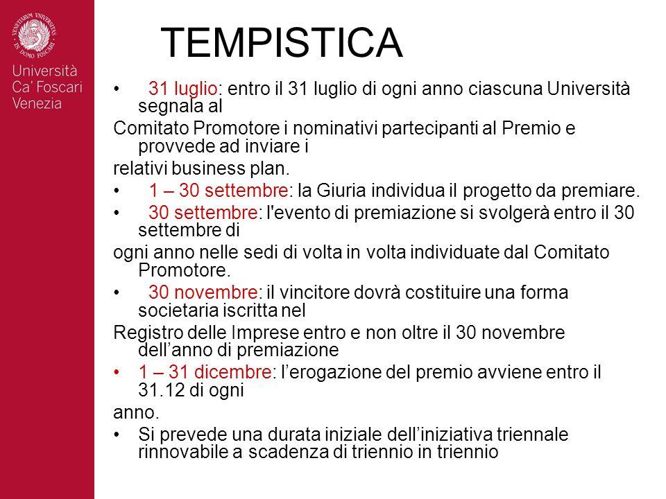 TEMPISTICA 31 luglio: entro il 31 luglio di ogni anno ciascuna Università segnala al Comitato Promotore i nominativi partecipanti al Premio e provvede