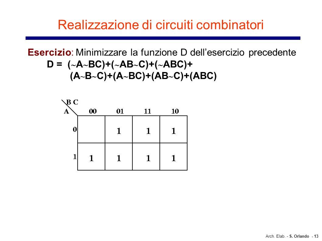 Arch. Elab. - S. Orlando - 13 Realizzazione di circuiti combinatori Esercizio: Minimizzare la funzione D dellesercizio precedente D = ( A BC)+( AB C)+