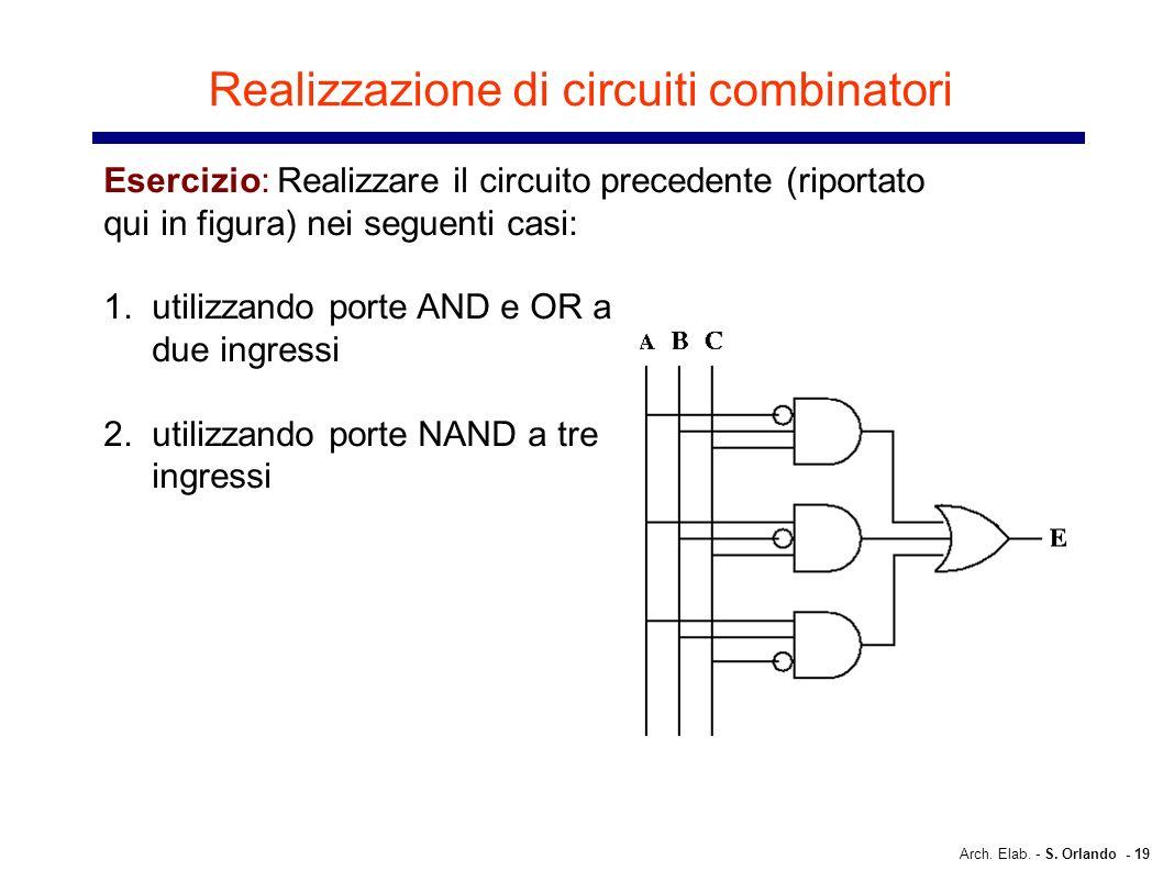 Arch. Elab. - S. Orlando - 19 Realizzazione di circuiti combinatori Esercizio: Realizzare il circuito precedente (riportato qui in figura) nei seguent