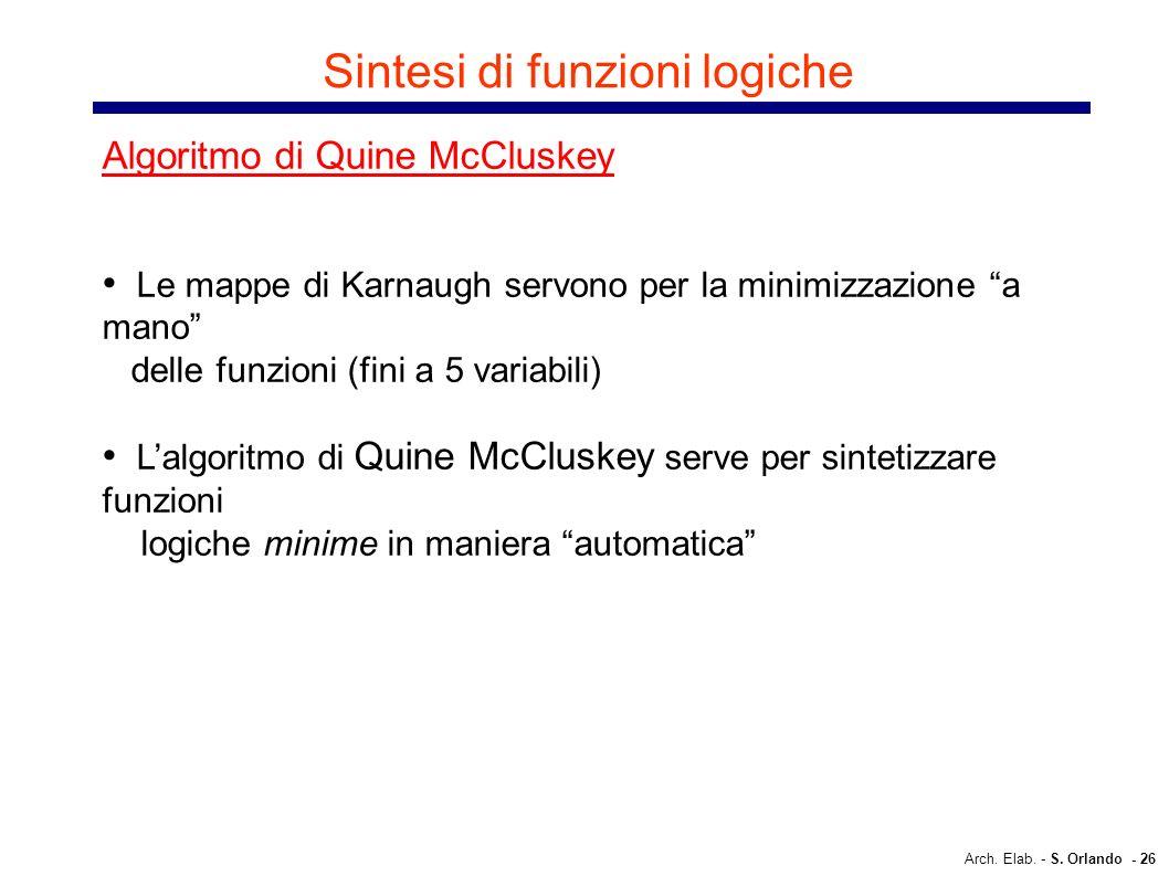 Arch. Elab. - S. Orlando - 26 Sintesi di funzioni logiche Algoritmo di Quine McCluskey Le mappe di Karnaugh servono per la minimizzazione a mano delle