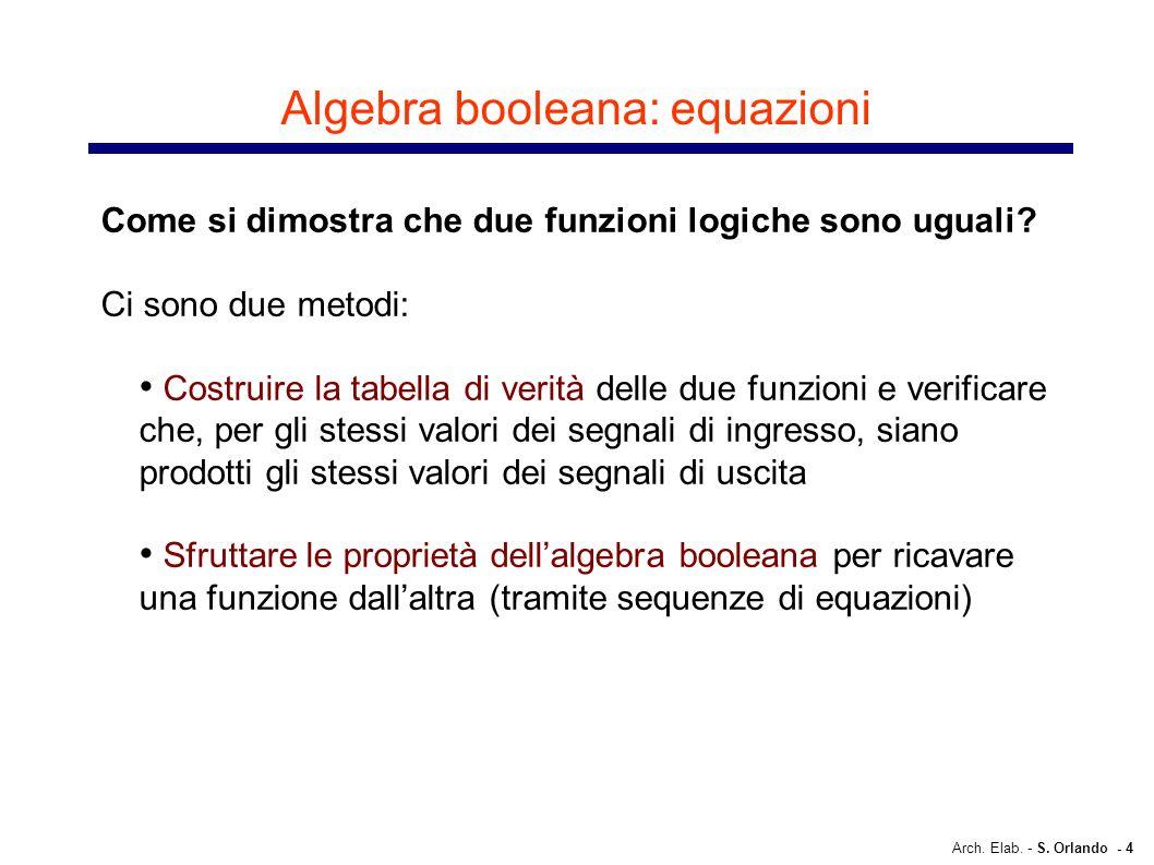 Arch. Elab. - S. Orlando - 4 Algebra booleana: equazioni Come si dimostra che due funzioni logiche sono uguali? Ci sono due metodi: Costruire la tabel