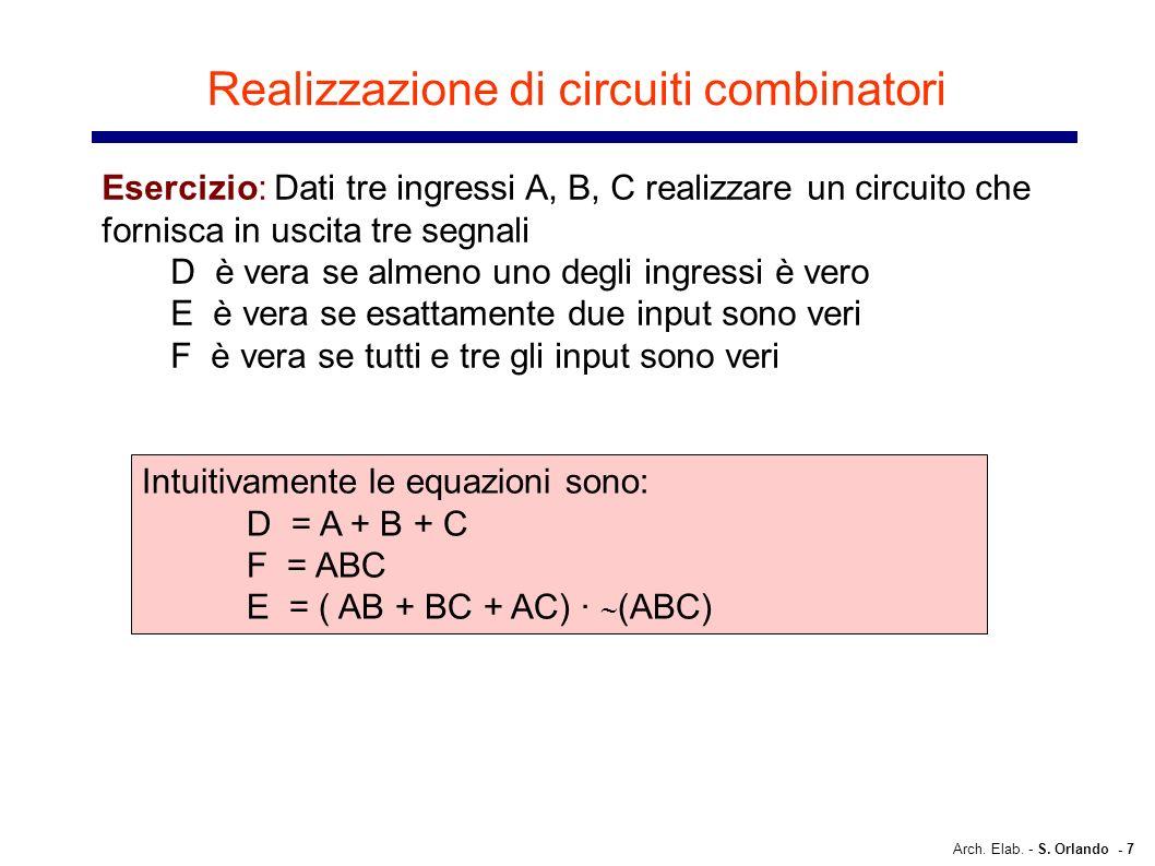 Arch. Elab. - S. Orlando - 7 Realizzazione di circuiti combinatori Esercizio: Dati tre ingressi A, B, C realizzare un circuito che fornisca in uscita