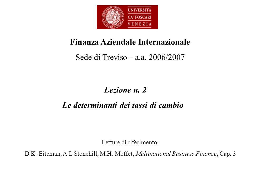 Lezione n. 2 Le determinanti dei tassi di cambio Finanza Aziendale Internazionale Sede di Treviso - a.a. 2006/2007 Letture di riferimento: D.K. Eitema