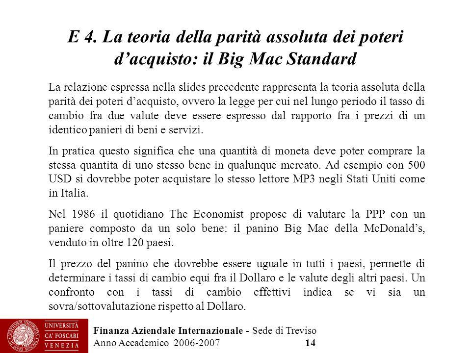 Finanza Aziendale Internazionale - Sede di Treviso Anno Accademico 2006-2007 14 E 4. La teoria della parità assoluta dei poteri dacquisto: il Big Mac