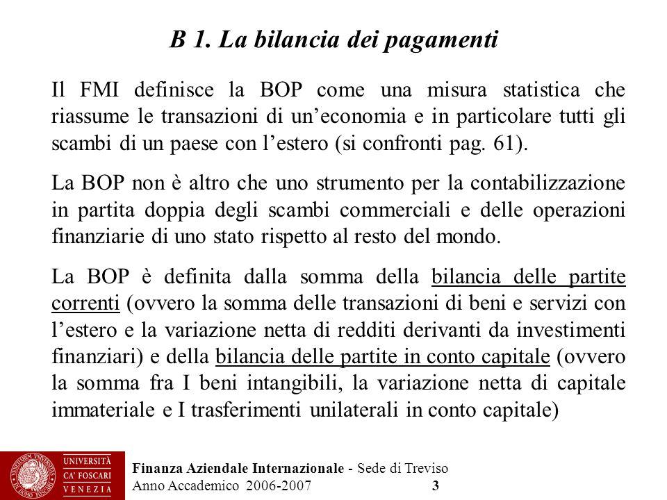 Finanza Aziendale Internazionale - Sede di Treviso Anno Accademico 2006-2007 3 B 1. La bilancia dei pagamenti Il FMI definisce la BOP come una misura