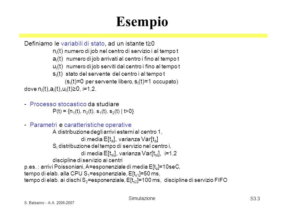 S. Balsamo - A.A. 2006-2007 SimulazioneS3.3 Esempio Definiamo le variabili di stato, ad un istante t0 n i (t) numero di job nel centro di servizio i a