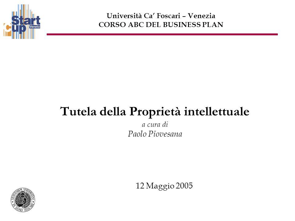 Tutela della Proprietà intellettuale a cura di Paolo Piovesana 12 Maggio 2005 Università Ca Foscari – Venezia CORSO ABC DEL BUSINESS PLAN
