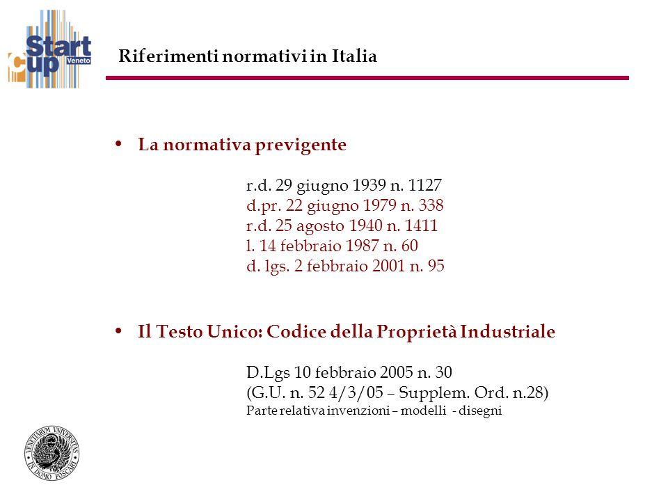 Riferimenti normativi in Italia La normativa previgente r.d.