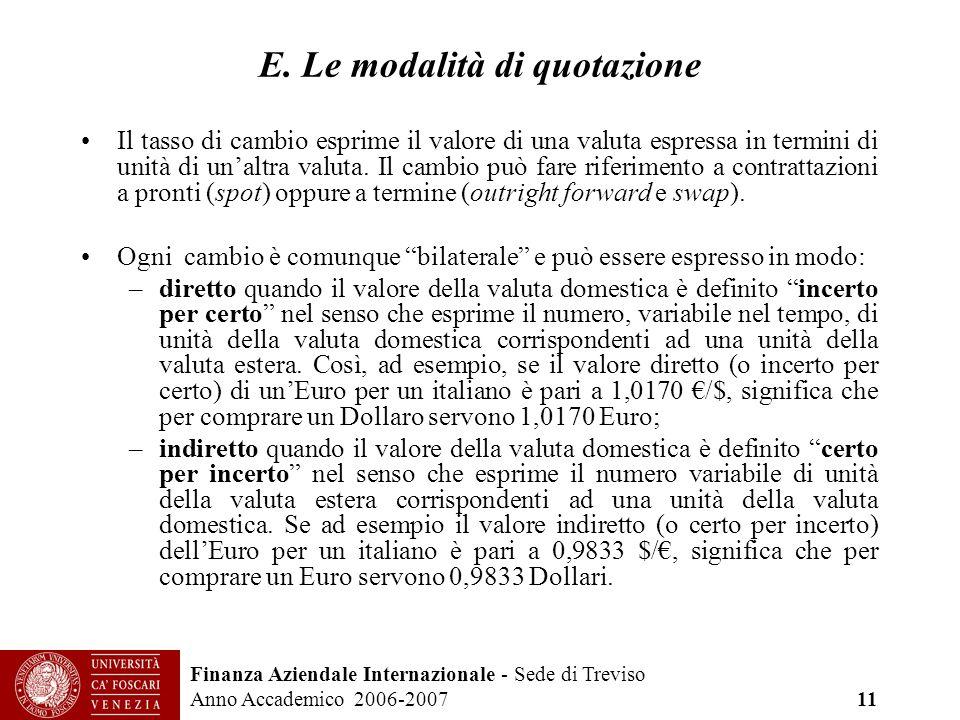 Finanza Aziendale Internazionale - Sede di Treviso Anno Accademico 2006-2007 11 E. Le modalità di quotazione Il tasso di cambio esprime il valore di u