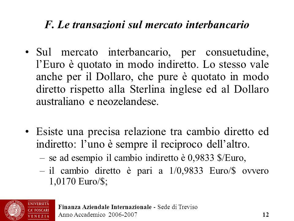 Finanza Aziendale Internazionale - Sede di Treviso Anno Accademico 2006-2007 12 F. Le transazioni sul mercato interbancario Sul mercato interbancario,