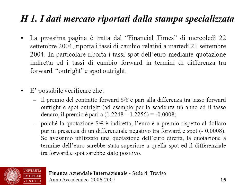Finanza Aziendale Internazionale - Sede di Treviso Anno Accademico 2006-2007 15 H 1. I dati mercato riportati dalla stampa specializzata La prossima p