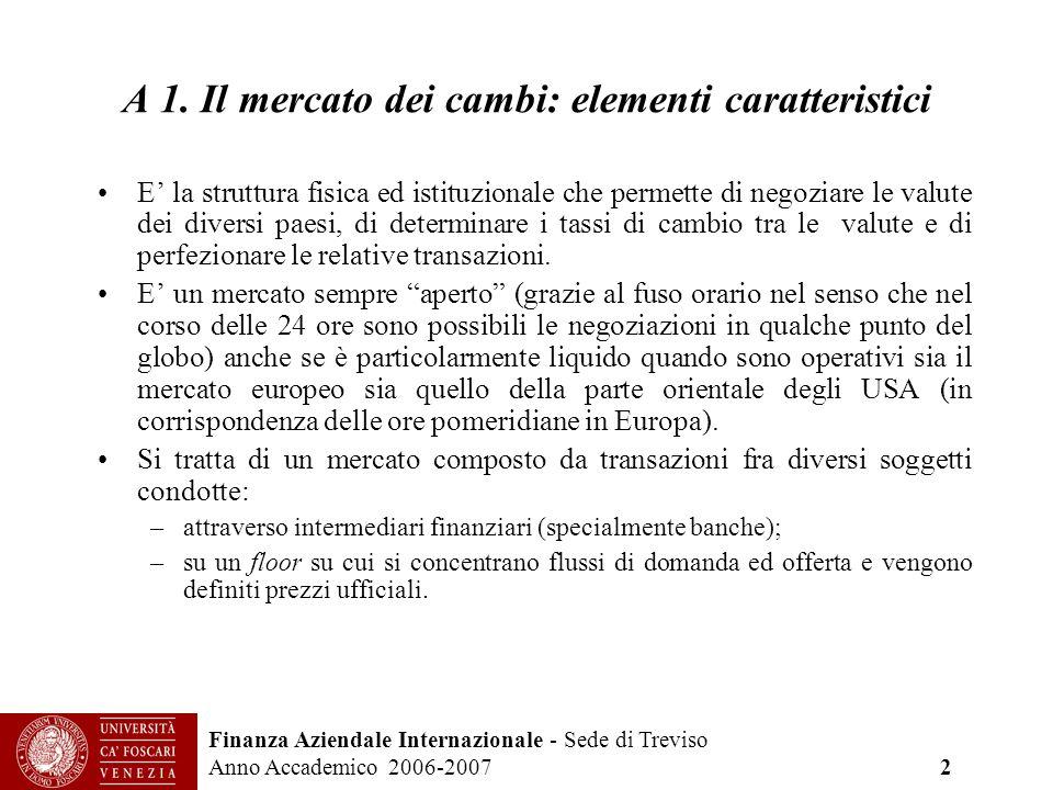 Finanza Aziendale Internazionale - Sede di Treviso Anno Accademico 2006-2007 2 A 1. Il mercato dei cambi: elementi caratteristici E la struttura fisic