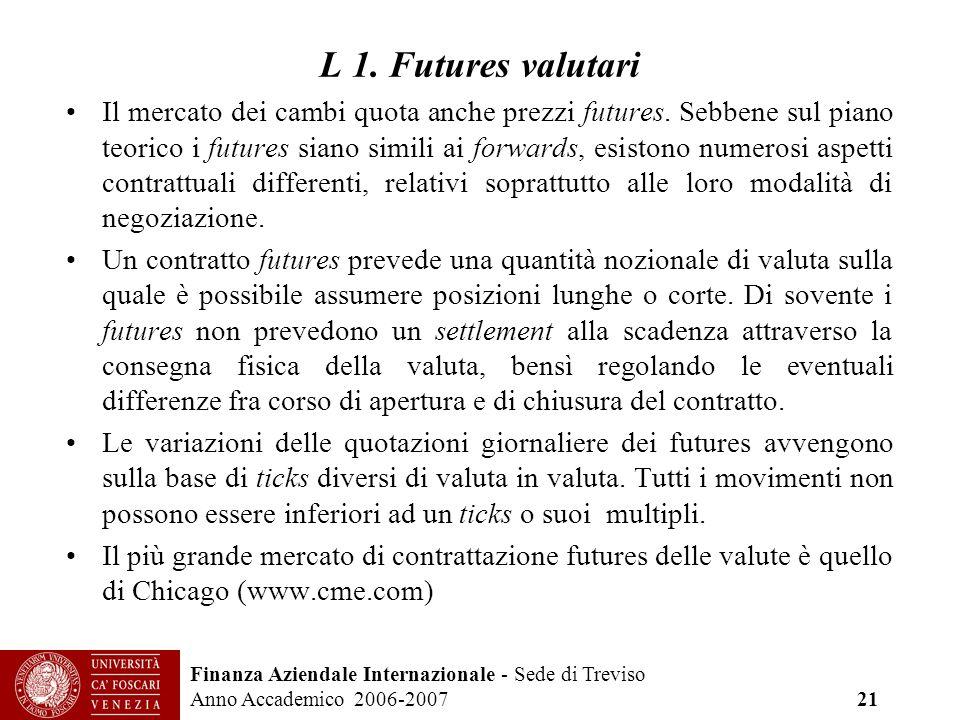 Finanza Aziendale Internazionale - Sede di Treviso Anno Accademico 2006-2007 21 L 1. Futures valutari Il mercato dei cambi quota anche prezzi futures.