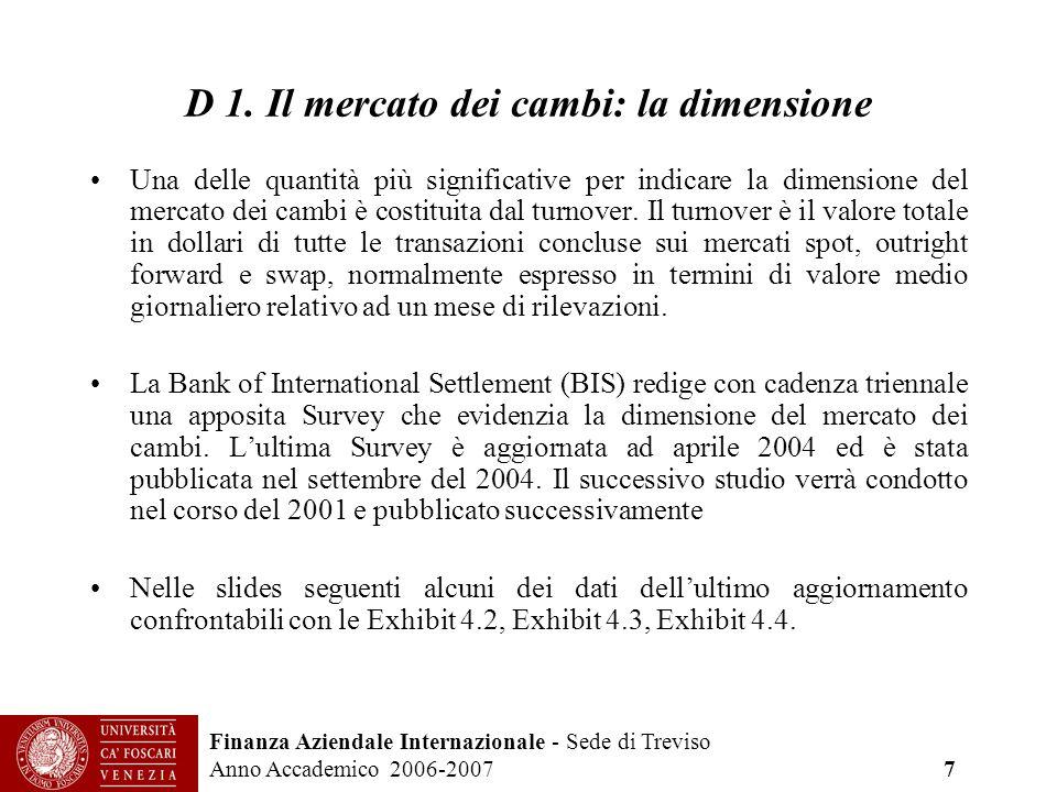 Finanza Aziendale Internazionale - Sede di Treviso Anno Accademico 2006-2007 7 D 1. Il mercato dei cambi: la dimensione Una delle quantità più signifi