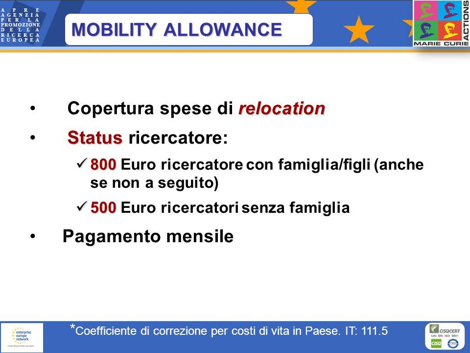 MOBILITY ALLOWANCE relocation Copertura spese di relocation Status Status ricercatore: 800 800 Euro ricercatore con famiglia/figli (anche se non a seg