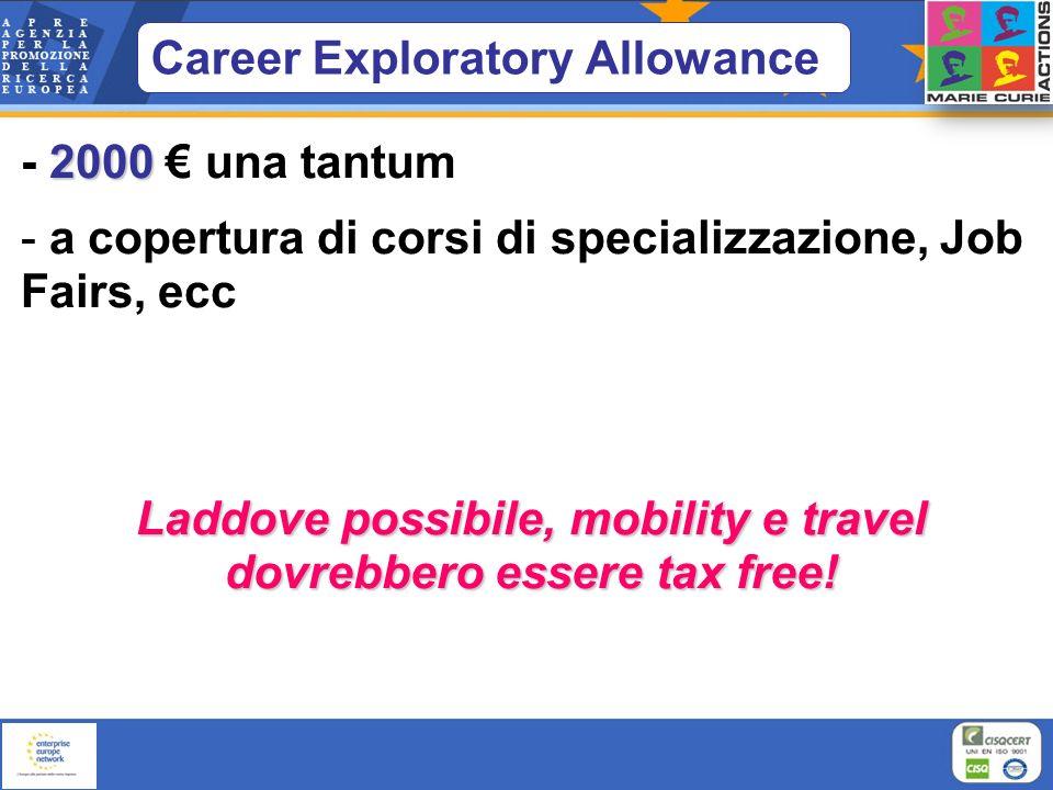 Career Exploratory Allowance 2000 - 2000 una tantum - a copertura di corsi di specializzazione, Job Fairs, ecc Laddove possibile, mobility e travel do