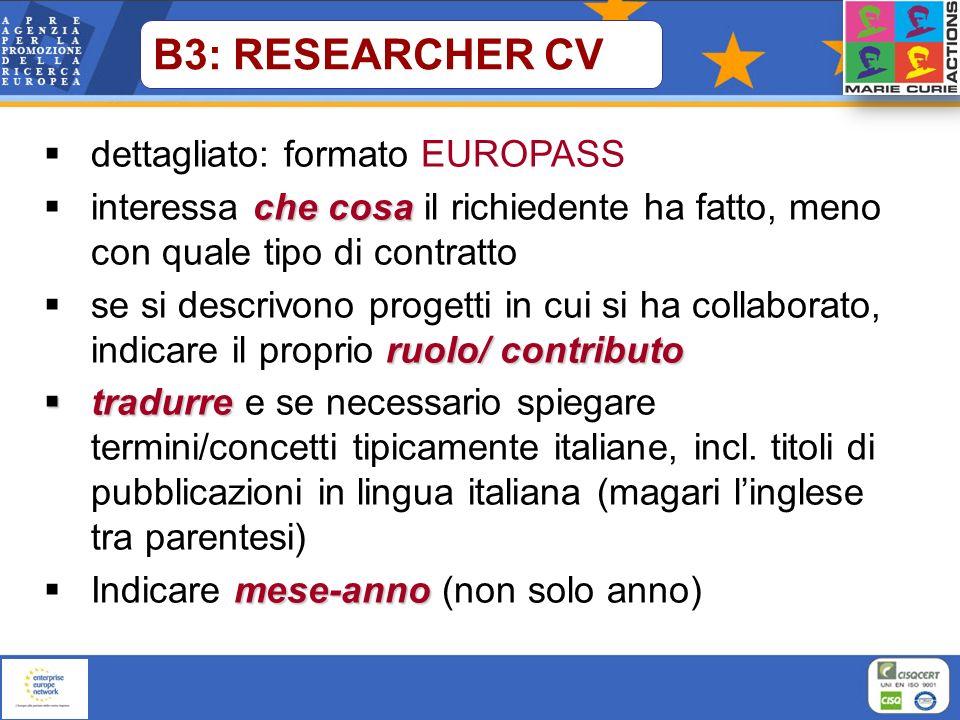 dettagliato: formato EUROPASS che cosa interessa che cosa il richiedente ha fatto, meno con quale tipo di contratto ruolo/ contributo se si descrivono