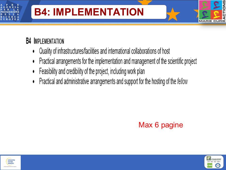 B4: IMPLEMENTATION Max 6 pagine