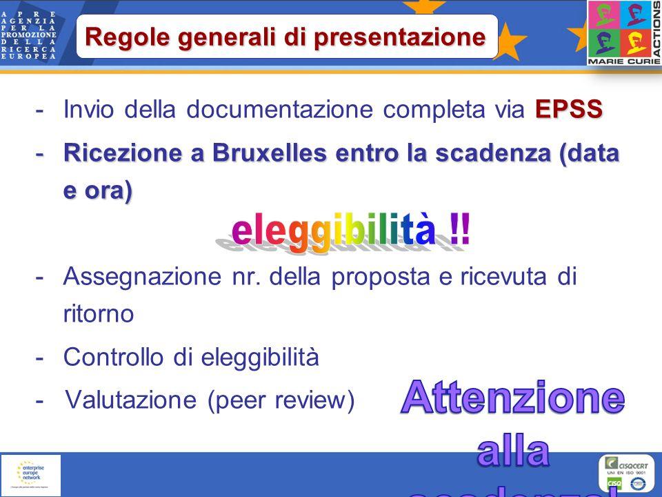 EPSS -Invio della documentazione completa via EPSS -Ricezione a Bruxelles entro la scadenza (data e ora) -Assegnazione nr. della proposta e ricevuta d