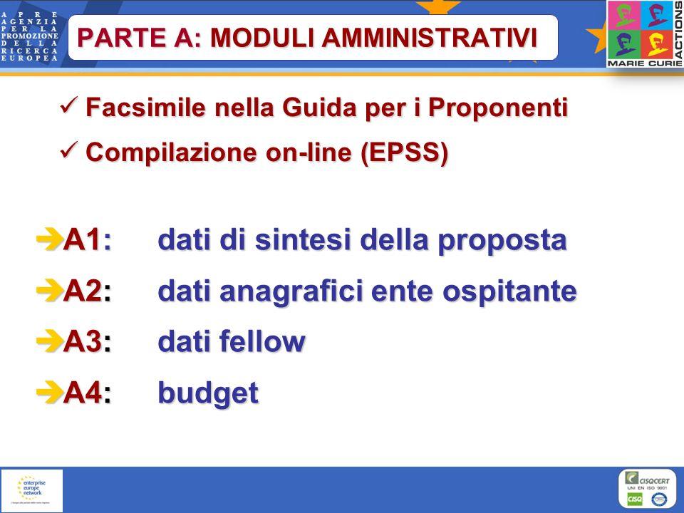 Facsimile nella Guida per i Proponenti Facsimile nella Guida per i Proponenti Compilazione on-line (EPSS) Compilazione on-line (EPSS) A1: dati di sint