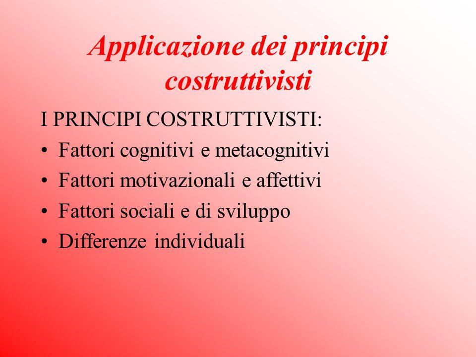 Applicazione dei principi costruttivisti I PRINCIPI COSTRUTTIVISTI: Fattori cognitivi e metacognitivi Fattori motivazionali e affettivi Fattori sociali e di sviluppo Differenze individuali
